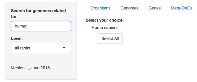 In By Selecting The Box Es Available This Example First For Only Match Of Human Sapiens And Then Genomes You Want To Explore